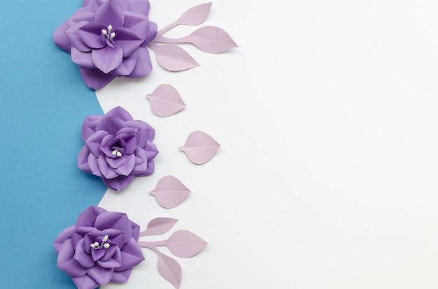 Cadre vue de dessus avec des fleurs violettes et fond blanc