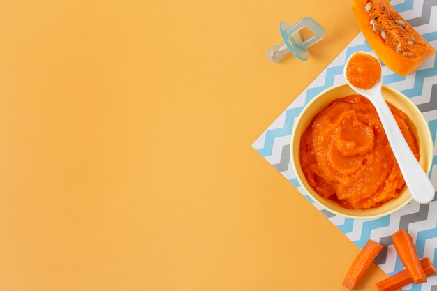 Cadre vue de dessus avec de la nourriture pour bébé citrouille