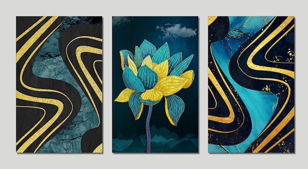 Cadres 3d pour mur. fleurs dorées et turquoises avec nuages fond sombre géode de résine résumé