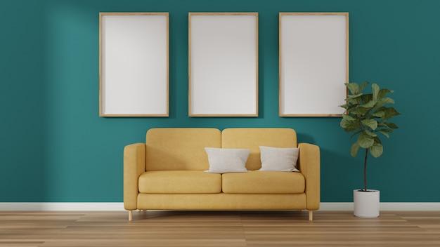 Cadres d'affiche photo intérieure et chaise de canapé jaune près de la chambre