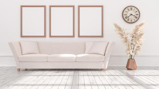 Cadres d'affiches vides sur mur beige, éclairé par la lumière de la fenêtre, illustration 3d