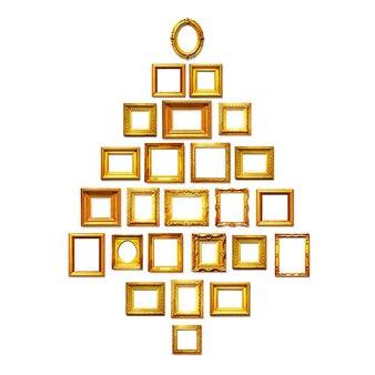 Cadres dorés antiques comme arbre de noël fond de vacances groupe d'objets sur fond blanc