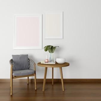 Cadres photo vides sur mur blanc