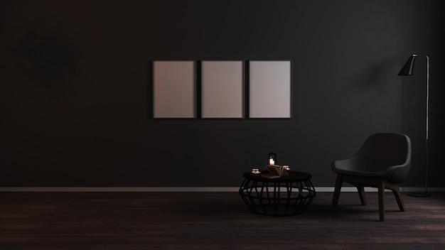 Des cadres verticaux vierges se moquent dans un salon sombre de luxe