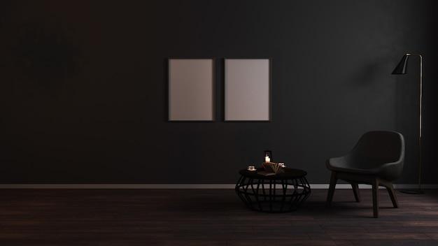 Cadres vierges dans l'intérieur de salon sombre de luxe