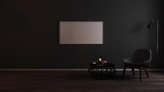 Cadres vierges horizontaux dans le salon sombre de luxe