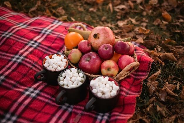 Café aux guimauves dans des tasses noires avec un panier de légumes et de fruits sur une couverture à carreaux. pique-nique d'automne