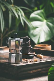 Café et feuilles tropicales, gros plan