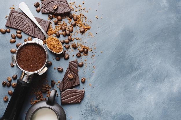 Café en grains, chocolat et café expresso