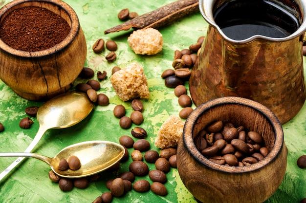 Café en grains et marc