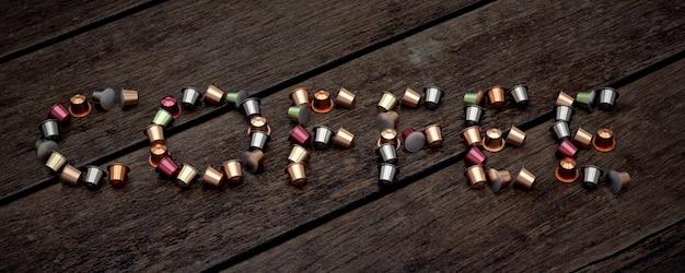 Café de mot fait de capsules de café.