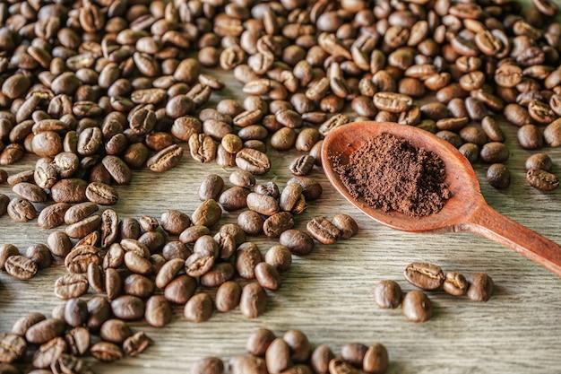 Café moulu dans une cuillère en bois avec fond de grains de café torréfiés