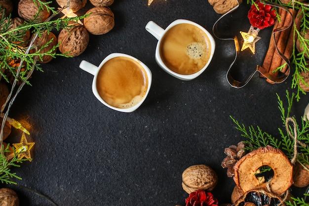 Café, nouvel an, fond de noël ou fête de noël