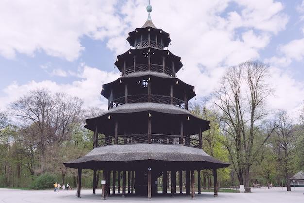 Le café en plein air de la tour chinoise dans le jardin anglais de munich est fermé