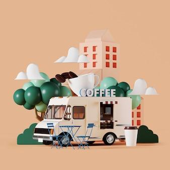 Café rue camion avec jardin sur fond beige