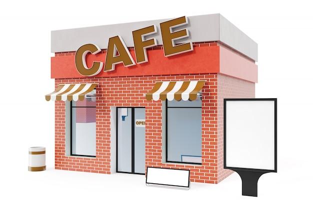 Cafe store avec copie espace board isolé sur fond blanc. immeubles de magasins modernes, façades de magasins. marché extérieur. bâtiment de magasin de façade extérieure, rendu 3d