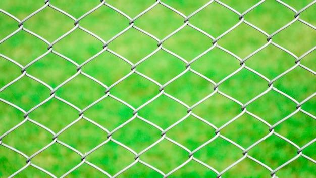 Cage filet métallique devant la pelouse