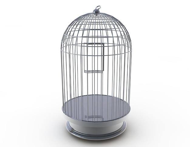 Cage à oiseaux en argent. illustration 3d sur fond blanc
