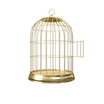 Cage à oiseaux en or 3d