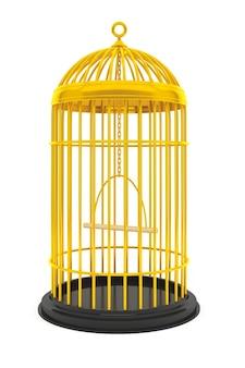 Cage à oiseaux d'or sur fond blanc