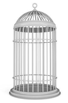 Cage à oiseaux simple sur fond blanc