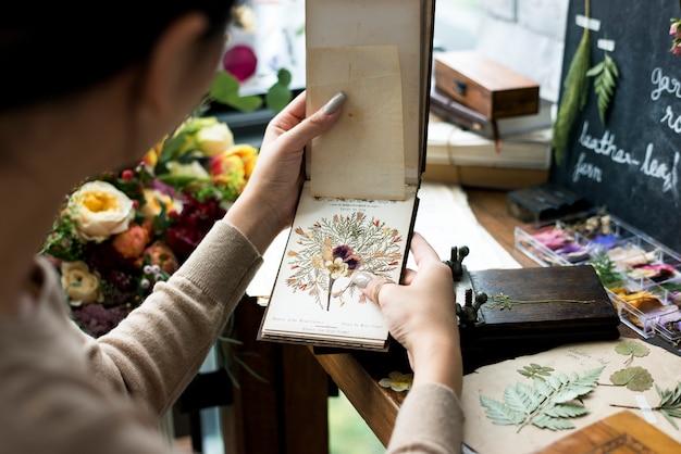 Cahier de collection de plantes tenant des fleurs sèches