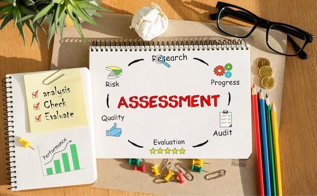 Cahier avec outils et notes sur l'évaluation, concept