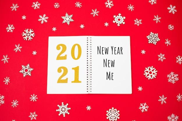 Cahier ouvert et nouvel an - nouveau me massage