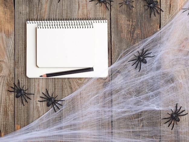 Cahier ouvert avec des pages blanches, une toile d'araignée et des araignées noires