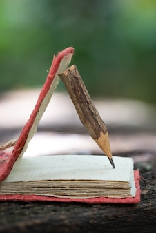Cahier recyclé fabriqué à partir de vieux papier et crayon de bois dans la nature.