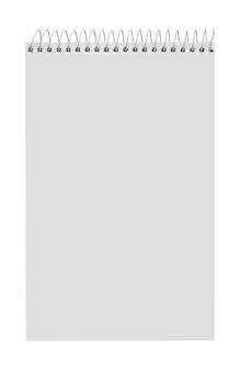 Cahier à spirale papier isolé sur blanc