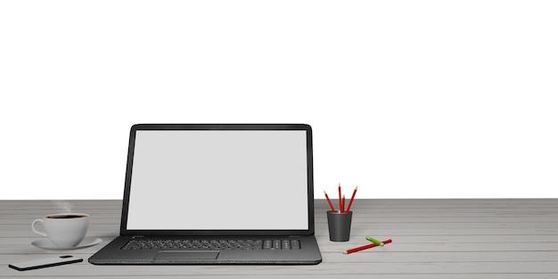 Cahier sur table en bois blanc, crayon, téléphone et tasse de café idées pour travailler à la maison écran d'ordinateur portable vide avec chemin de coupe