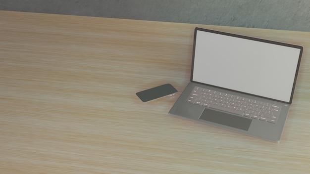 Le cahier sur table en bois pour le fond pour le rendu 3d de contenu commercial