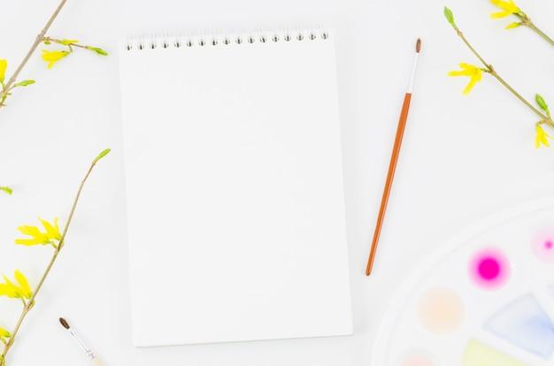 Cahier vue de dessus avec aquarelle et branche