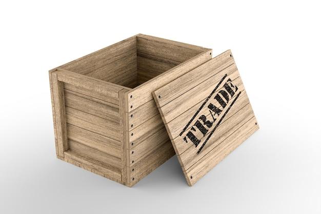 Caisse en bois avec texte commercial imprimé sur fond blanc. rendu 3d