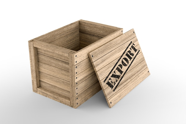 Caisse en bois avec texte d'exportation imprimé sur fond blanc. rendu 3d