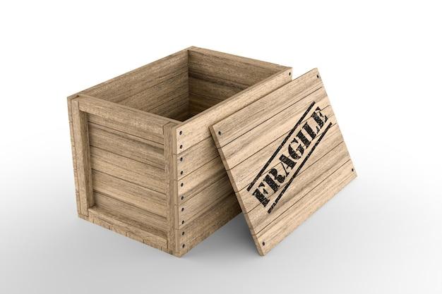 Caisse en bois avec texte fragile imprimé sur fond blanc. rendu 3d