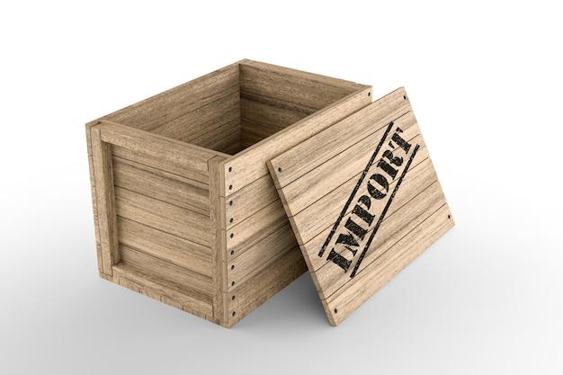 Caisse en bois avec texte d'importation imprimé sur fond blanc. rendu 3d