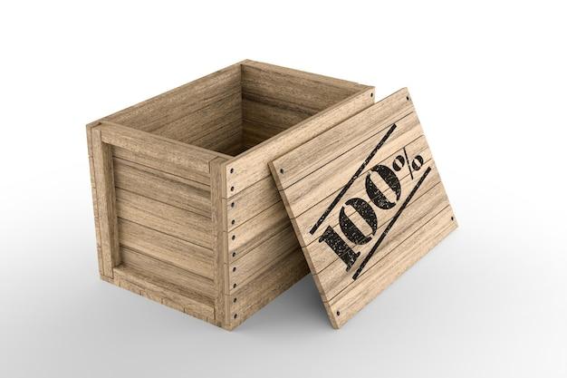 Caisse en bois avec texte imprimé à 100 % sur fond blanc. rendu 3d
