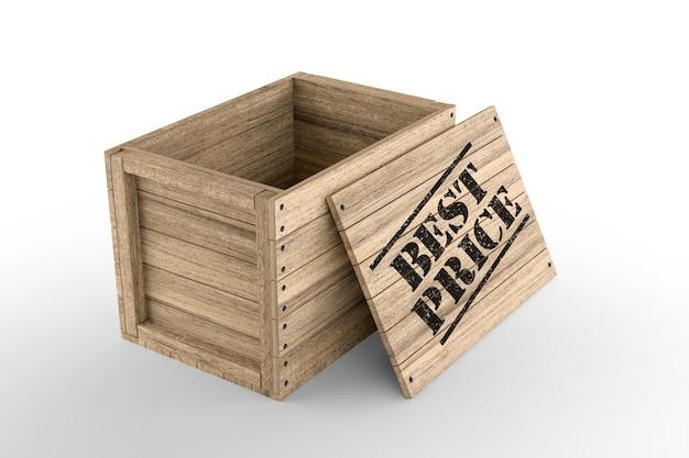 Caisse en bois avec texte imprimé meilleur prix sur fond blanc. rendu 3d