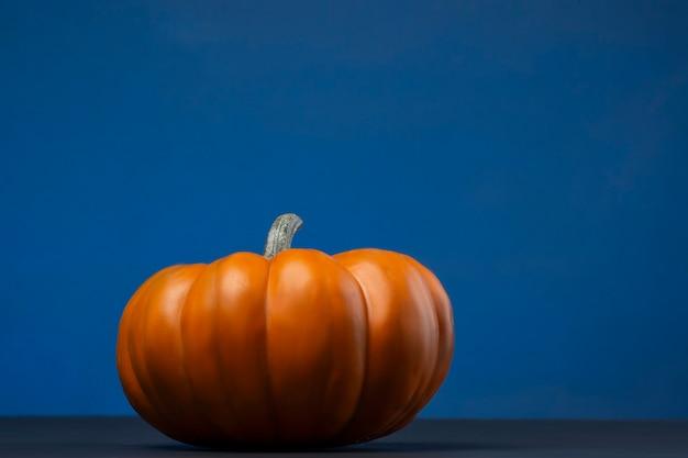 Calabaza mini con fondo de color azul para halloween