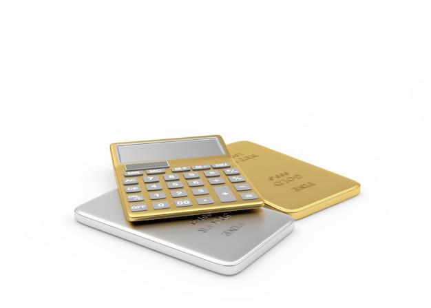 Calculateur d'or sur lingots d'argent et d'or