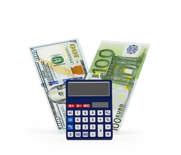 Calculatrice avec des billets en dollars et en euros