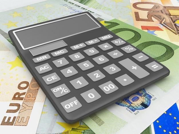 Calculatrice sur les billets en euros 3d