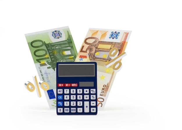 Calculatrice et billets en euros avec signe de pourcentage