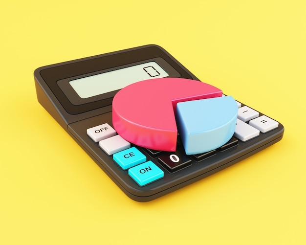 Calculatrice de bureau 3d et camembert.