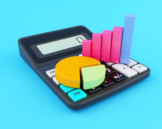 Calculatrice de bureau 3d et graphique d'entreprise.