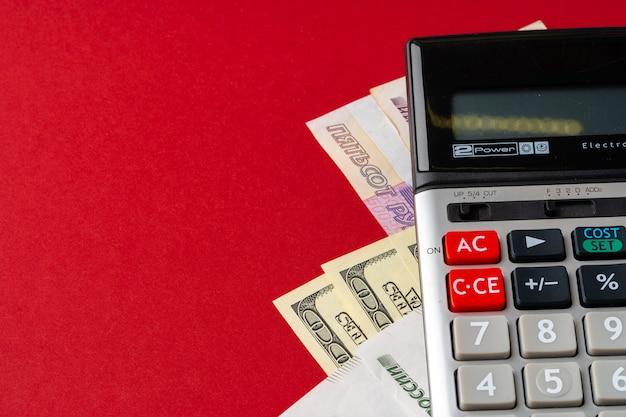 Calculatrice avec dollars américains et roubles russes