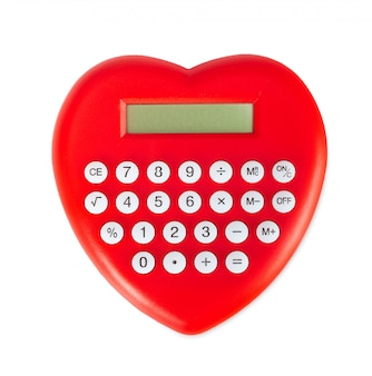 Calculatrice en forme de coeur rouge.