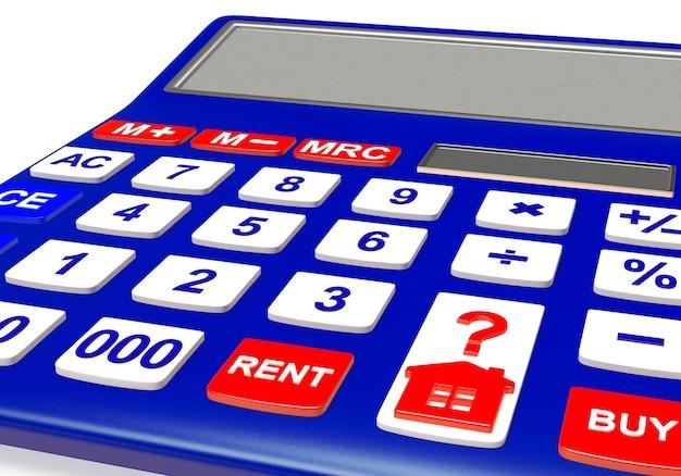 Calculatrice avec l'icône de la maison et les mots acheter et louer